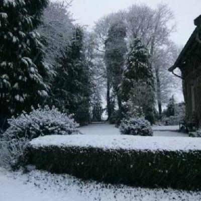 Ferme de l'abbaye sous la neige